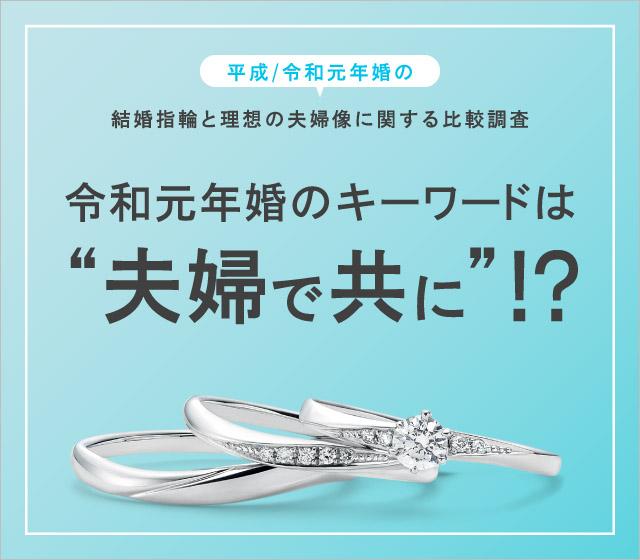 """平成/令和元年婚の結婚指輪と理想の夫婦像に関する比較調査 令和元年婚のキーワードは """"夫婦で共に""""!?"""